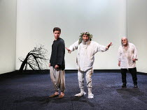 Act 4, scene 6 - l-r: Oliver Johnstone (Edgar), Antony Sher (King Lear), David Troughton (Gloucester) in KING LEAR by Shakespeare opening at the Royal Shakespeare Theatre, Stratford-upon-Avon, England...