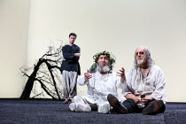 Act 4, scene 6 - l-r: (rear) Oliver Johnstone (Edgar), Antony Sher (King Lear), David Troughton (Gloucester) in KING LEAR by Shakespeare opening at the Royal Shakespeare Theatre, Stratford-upon-Avon,...
