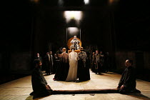 Act 1, scene 1 - centre, l-r: Nia Gwynne (Goneril), Natalie Simpson (Cordelia), Kelly Williams (Regan) rear: Antony Sher (King Lear) in KING LEAR by Shakespeare opening at the Royal Shakespeare Theatr...