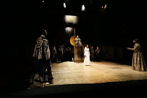 Act 1, scene 1 - front left: Theo Ogundipe (Burgundy) centre: Natalie Simpson (Cordelia), Antony Sher (King Lear) right: Marcus Griffiths (France) in KING LEAR by Shakespeare opening at the Royal Shak...