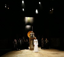 Act 1, scene 1 - centre: Natalie Simpson (Cordelia), Antony Sher (King Lear) in KING LEAR by Shakespeare opening at the Royal Shakespeare Theatre, Stratford-upon-Avon, England on 01/09/2016   a Royal...