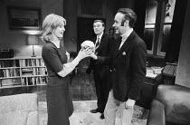 THE PHILANTHROPIST by Christopher Hampton design: John Gunter director: Robert Kidd l-r: Jane Asher (Celia), Alec McCowen (Philip), Victor Spinetti (Braham)Royal Court Theatre 1970 production / May Fa...