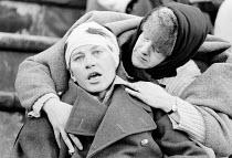 PASSION by Edward Bond design: Di Seymour director: Bill Bryden   Mark McManus (Dead Soldier), Susan Engel (Old Woman)  a Royal Court Theatre production / C.N.D Festival, Alexandra Park Racecourse, Ha...