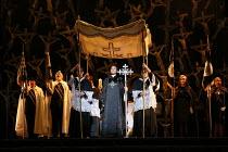 centre: Sonya Yoncheva (Norma) in NORMA (music by Vincenzo Bellini) opening at The Royal Opera, Covent Garden, London WC2 on 12/09/2016  ~libretto: Felice Romani conductor: Antonio Pappano et design:...