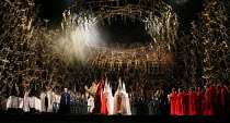 front left (in black): Brindley Sherratt (Oroveso) in NORMA (music by Vincenzo Bellini) opening at The Royal Opera, Covent Garden, London WC2 on 12/09/2016    libretto: Felice Romani conductor: Anton...