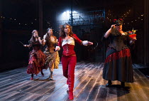 l-r: Emma Noakes (Valeria), Frances McNamee (Florinda), Faye Castelow (Hellena), Sally Bankes (Callis) in THE ROVER by Aphra Behn opening at the Swan Theatre, Stratford-upon-Avon, England  on 15/09/20...