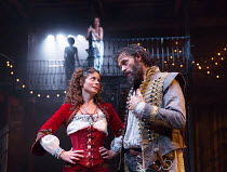 Faye Castelow (Hellena), Joseph Millson (Willmore) with (top rear) Alexandra Gilbreath (Angellica Bianca) in THE ROVER by Aphra Behn opening at the Swan Theatre, Stratford-upon-Avon, England  on 15/09...