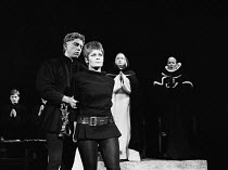 ST. JOAN by George Bernard Shaw set design: Patrick Robertson costumes: Rosemary Vercoe lighting: Geoffrey Mersereau director: John Neville   Giles Block (Bertrand de Poulengey), Judi Dench (St. Joan)...