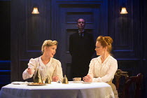 l-r: Amy Morgan (Gwendolen), Clare Foster (Cecily) in TRAVESTIES by Tom Stoppard opening at the Menier Chocolate Factory, London SE1 on 04/10/2016   design: Tim Hatley lighting: Neil Austin director:...