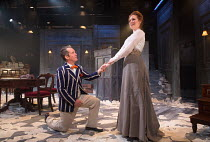Tom Hollander (Henry Carr), Clare Foster (Cecily) in TRAVESTIES by Tom Stoppard opening at the Menier Chocolate Factory, London SE1 on 04/10/2016 design: Tim Hatley lighting: Neil Austin director: Pat...