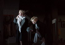 l-r: Hope Davis (Ingrid Dodd), Elizabeth Debicki (Mona Sanders) in THE RED BARN by David Hare opening at the Lyttelton Theatre, National Theatre (NT), London SE1 on 17/10/2016 after the novel 'La Main...