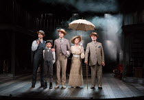 l-r: Jonathan Stewart (Young Brother), Samuel Peterson (Little Boy), Earl Carpenter (Father), Anita Louise Combe (Mother), Anthony Cable (Grandfather) in RAGTIME opening at the Charing Cross Theatre,...