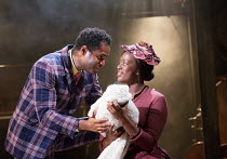 Ako Mitchell (Coalhouse), Jennifer Saayeng (Sarah) in RAGTIME opening at the Charing Cross Theatre, London WC2 on 17/10/2016 based on the novel by E.L Doctorow music: Stephen Flaherty book: Terrence M...