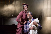 Jennifer Saayeng (Sarah), Ako Mitchell (Coalhouse) in RAGTIME opening at the Charing Cross Theatre, London WC2 on 17/10/2016 based on the novel by E.L Doctorow music: Stephen Flaherty book: Terrence M...