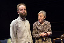 Alex Beckett (Derek), Maroussia Frank (Miss Clarence) in BLUE KETTLE by Caryl Churchill opening at the Orange Tree Theatre, Richmond, Surrey, England on 18/10/2016 part of BLUE HEART a Tobacco Factory...