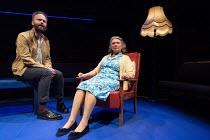 Alex Beckett (Derek), Gillian Axtell (Derek's Mother) in BLUE KETTLE by Caryl Churchill opening at the Orange Tree Theatre, Richmond, Surrey, England on 18/10/2016 part of BLUE HEART a Tobacco Factory...