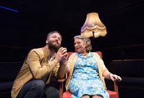 Alex Beckett (Derek), Gillian Axtell (Derek's Mother) in BLUE KETTLE by Caryl Churchill opening at the Orange Tree Theatre, Richmond, Surrey, England on 18/10/2016 ~~part of BLUE HEART a Tobacco Facto...