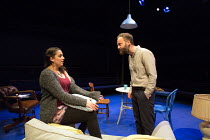 Mona Goodwin (Enid), Alex Beckett (Derek) in BLUE KETTLE by Caryl Churchill opening at the Orange Tree Theatre, Richmond, Surrey, England on 18/10/2016 part of BLUE HEART a Tobacco Factory Theatres an...