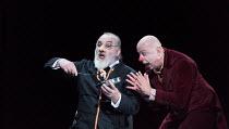 l-r: John Tomlinson (Doctor), Martin Winkler (Platon Kuzmitch Kovalov) in THE NOSE by Shostakovich opening at the The Royal Opera, Covent Garden, London WC2 on 20/10/2016 ~music: Dmitry Shostakovich l...