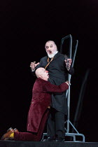 l-r: Martin Winkler (Platon Kuzmitch Kovalov),  John Tomlinson (Doctor) in THE NOSE by Shostakovich opening at the The Royal Opera, Covent Garden, London WC2 on 20/10/2016 ~music: Dmitry Shostakovich...