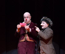l-r: Martin Winkler (Platon Kuzmitch Kovalov), Peter Bronder (Iaryzhkin) in THE NOSE by Shostakovich opening at the The Royal Opera, Covent Garden, London WC2 on 20/10/2016 ~music: Dmitry Shostakovich...