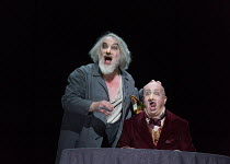 l-r: John Tomlinson (Ivan Iakovlevitch - the Barber), Martin Winkler (Platon Kuzmitch Kovalov) in THE NOSE by Shostakovich opening at the The Royal Opera, Covent Garden, London WC2 on 20/10/2016 ~musi...