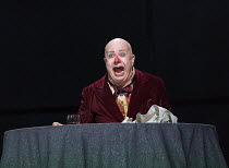 final moments - his nose has disappeared again: Martin Winkler (Platon Kuzmitch Kovalov) in THE NOSE by Shostakovich opening at the The Royal Opera, Covent Garden, London WC2 on 20/10/2016 ~music: Dmi...