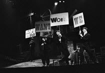 CLOSE THE COALHOUSE DOOR by Alan Plater from stories by Sid Chaplin songs: Alex Glasgow set & lighting design: Brian Currah director: Bill Hays   front, left to right: Colin Douglas, John Woodvine, B...