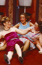 STAGS AND HENS by Willy Russell design: Shelagh Keegan director: David Thacker l-r: Noreen Kershaw (Bernadette), Eithne Browne (Maureen), Kate Fitzgerald (Frances) The Young Vic, London SE1  07/1984...