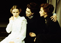 THREE SISTERS by Chekhov set design: Roger Butlin costumes: Daphne Dare director: Robin Phillips   l-r:  Mia Farrow (Irina), Joy Parker (Olga), Gwen Watford (Masha)  Greenwich Theatre, London SE10  25...