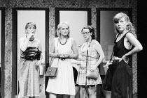 STAGS AND HENS by Willy Russell design: Shelagh Keegan director: David Thacker ~~l-r: Noreen Kershaw (Bernadette), Anne Miles (Linda), Eithne Browne (Maureen), Gilly Coman (Carol)~The Young Vic, Londo...