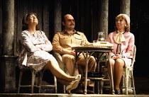 JOKING APART by Alan Ayckbourn set design: Alan Tagg costumes: Lindy Hemming director: Alan Ayckbourn  l-r: Diane Bull (Melody / Mandy / Mo), Robert Austin (Sven), Marcia Warren (Louise)Globe Theatre,...