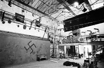 interior of the RSC Warehouse during construction in 1977. Previously a vat room, hops warehouse, film studio and banana ripening depot. Owned by Donald Albery from 1961 to 1977 and used as a private...