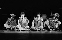 JOHN, PAUL, GEORGE, RINGO ... and BERT by Willy Russell original 1974 Liverpool Everyman production directed by Alan Dossor l-r: George Panther (Ringo), Stephen Mackenna (John), Nigel Hughes (Paul), L...