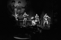 JOHN, PAUL, GEORGE, RINGO ... and BERT by Willy Russell original 1974 Liverpool Everyman production directed by Alan Dossor l-r: Nigel Hughes (Paul McCartney), Lloyd Johnston (George Harrison), George...