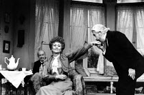 THE CHERRY ORCHARD by Chekhov design: Kenneth Mellow   costumes: Mark Negin lighting: Andy Phillips director: Lindsay Anderson   l-r: Bernard Miles (Firs), Joan Plowwright (Madame Ranevskaya), Frank F...
