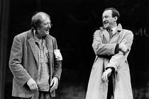 A CHORUS OF DISAPPROVAL by Alan Ayckbourn set design: Alan Tagg costumes: Lindy Hemming lighting: Mick Hughes director: Alan Ayckbourn ~~l-r: Michael Gambon (Dafydd Ap Llewellyn), Bob Peck (Guy Jones)...
