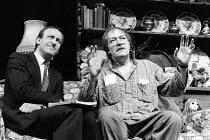 A CHORUS OF DISAPPROVAL by Alan Ayckbourn set design: Alan Tagg costumes: Lindy Hemming lighting: Mick Hughes director: Alan Ayckbourn ~~l-r: Bob Peck (Guy Jones), Michael Gambon (Dafydd Ap Llewellyn)...