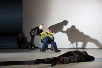 Regan torments blinded Gloucester: Jane Horrocks (Regan), Karl Johnson (Gloucester) in KING LEAR by Shakespeare opening at the Old Vic, London SE1 on 04/11 2016   design: Jean Kalman & Deborah Warner...
