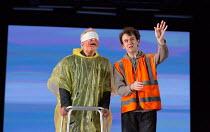 Dover cliff - l-r: Karl Johnson (Gloucester - blinded), Harry Melling (Edgar) in KING LEAR by Shakespeare opening at the Old Vic, London SE1 on 04/11 2016 design: Jean Kalman & Deborah Warner associat...