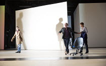l-r: Simon Manyonda (Edmond), Danny Webb (Cornwall), Celia Imrie (Goneril) in KING LEAR by Shakespeare opening at the Old Vic, London SE1 on 04/11 2016 design: Jean Kalman & Deborah Warner associate s...