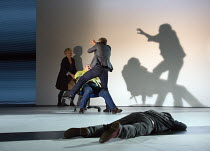 Cornwall rips out one of Gloucester's eyes: Karl Johnson (Gloucester - in chair), Danny Webb (Cornwall - back to camera) in KING LEAR by Shakespeare opening at the Old Vic, London SE1 on 04/11 2016...