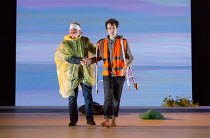 Dover Beach - l-r: Karl Johnson (Gloucester - blinded), Harry Melling (Edgar) in KING LEAR by Shakespeare opening at the Old Vic, London SE1 on 04/11 2016 design: Jean Kalman & Deborah Warner associat...