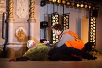 l-r: Karl Johnson (Gloucester - blinded), Harry Melling (Edgar) in KING LEAR by Shakespeare opening at the Old Vic, London SE1 on 04/11 2016 design: Jean Kalman & Deborah Warner associate set design:...