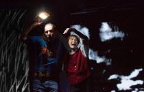storm scene: Rhys Ifans (Fool) and Glenda Jackson (King Lear) in KING LEAR by Shakespeare opening at the Old Vic, London SE1 on 04/11 2016 design: Jean Kalman & Deborah Warner associate set design: Ju...