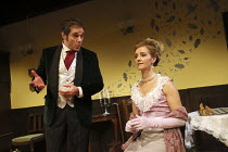 Paul Herzberg (The Gentleman), Sara Griffiths (Gerda) in STORM by August Strindberg opening at the Jermyn Street Theatre, London SW1 on 07/11/2016   part of STRINDBERG'S WOMEN 2 plays by August Strind...