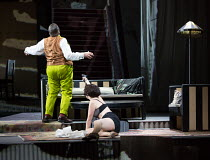 Lulu shoots Schon: James Morris (Dr Schon / Schon), Brenda Rae (Lulu)  in LULU by Alban Berg opening at English National Opera (ENO), London Coliseum WC2 on 09/11/2016   after 'Erdgeist' & 'Die Busch...