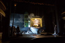 AN INSPECTOR CALLS by J B Priestley design: Ian MacNeil lighting: Rick Fisher director: Stephen Daldry   the house explodes  National Theatre (NT) 1992 production / revived at the Playhouse Theatre...