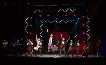 front centre, l-r: Toby Lee (Zack), David Fynn (Dewey Finn), Selma Hansen (Katie) in SCHOOL OF ROCK The Musical by Andrew Lloyd Webber opening at the New London Theatre, London WC2 on 14/11/2016 compo...
