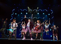 front, l-r: Toby Lee (Zack), David Fynn (Dewey Finn), Selma Hansen (Katie) in SCHOOL OF ROCK The Musical by Andrew Lloyd Webber opening at the New London Theatre, London WC2 on 14/11/2016 composer: An...